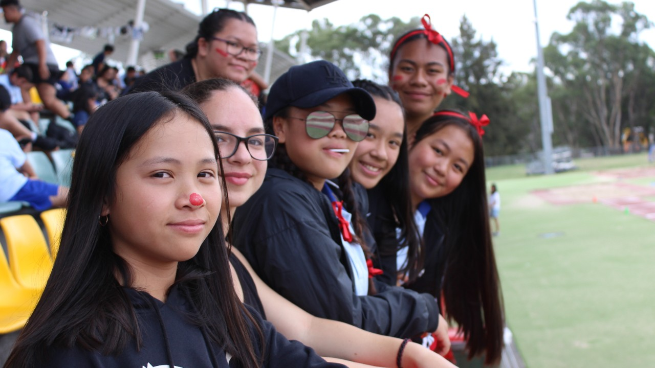 Students supporting Alpha at athletics carnival